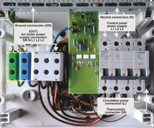 Ion boiler control panel with new connectors