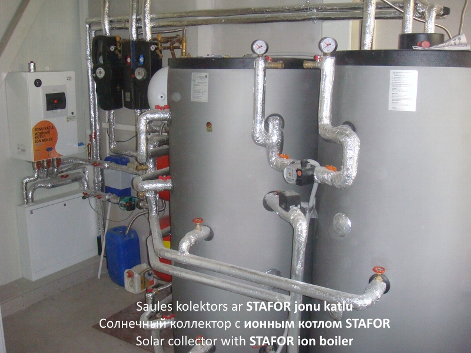 Heating ion boiler STAFOR with solar collectors