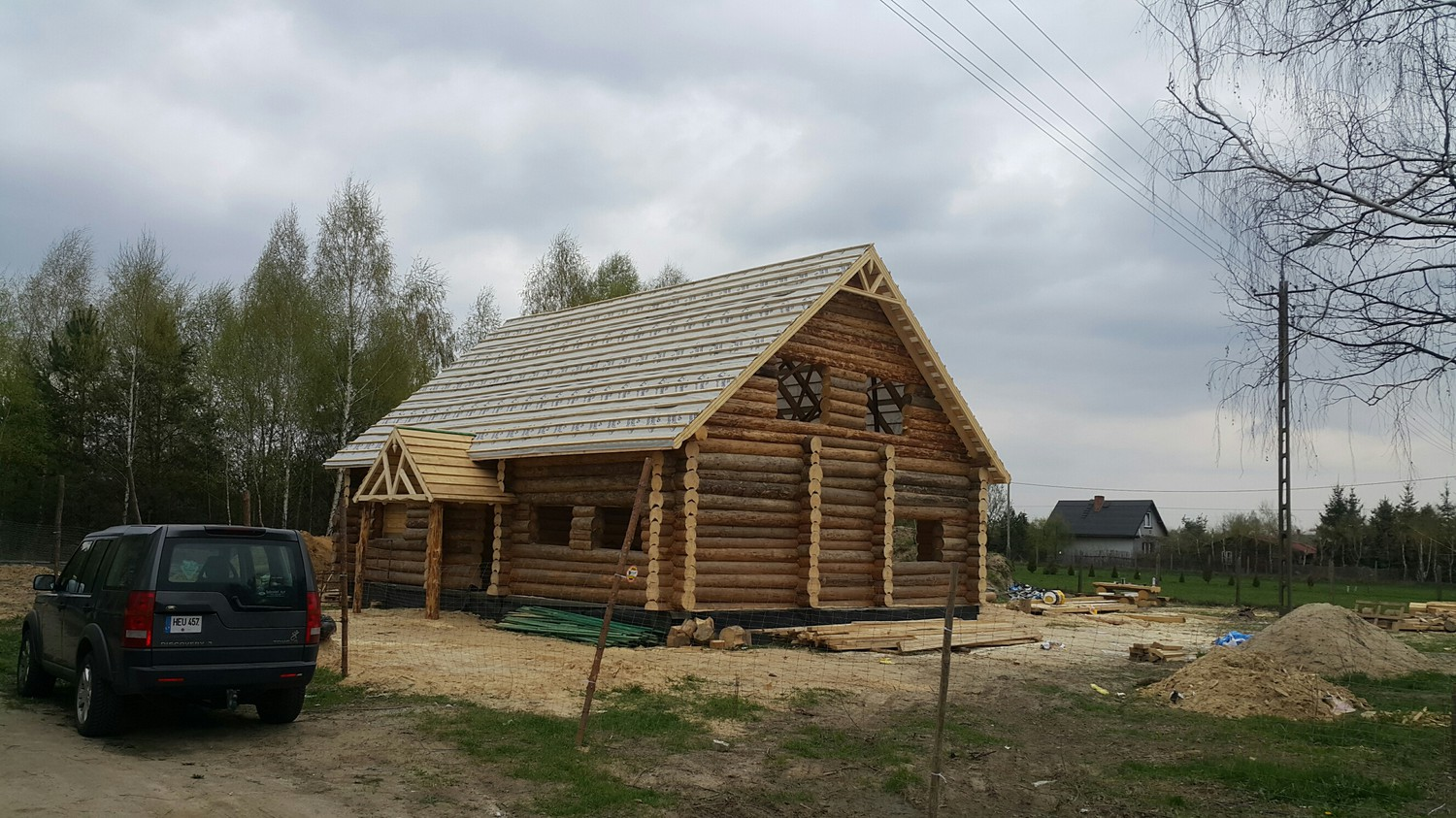 Unbleached wooden house