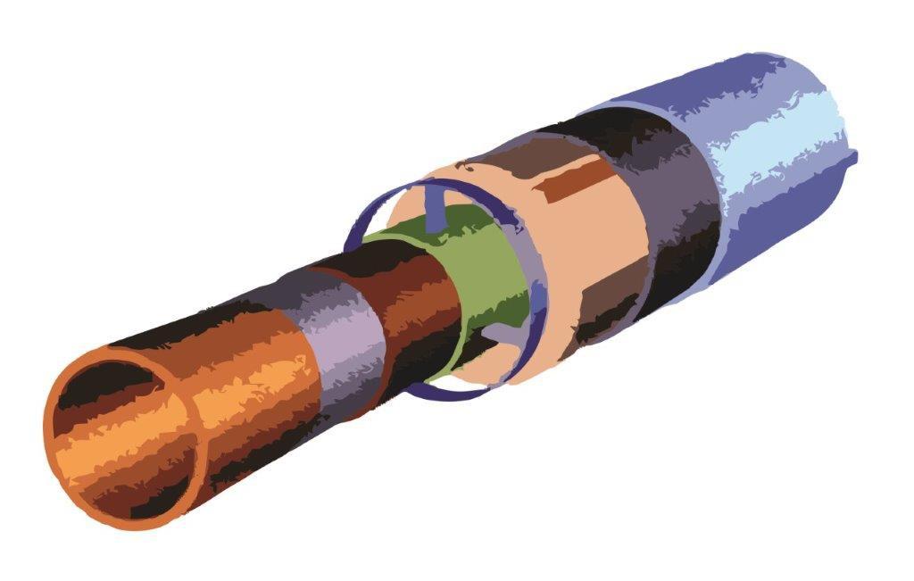 Caurule siltināta ar minerālo vati